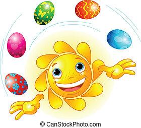 páscoa, juggling, sol, cute