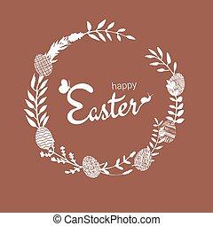 páscoa, ramos, desenhado, mão, ramos, grinalda, prado, silhouettes., eggs., vetorial, feito, ervas, botânico, flores, campo