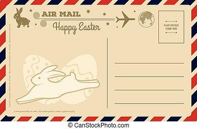 páscoa, vetorial, vindima, cartão postal, template., feliz, ilustração, desenho