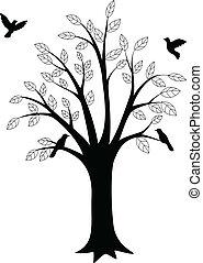 pássaro, árvore, silueta