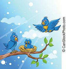 pássaro azul, família, neve