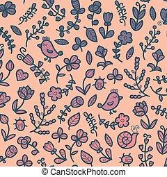 pássaro, caracol, flor, primavera, seamless, experiência., vetorial, padrão, ladybug, folha, floral, heart., borboleta