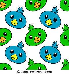 pássaro, padrão, fundo, cute, print., desenho, pintinho, repetir, têxtil, seamless
