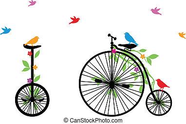 pássaros, bicicleta, vetorial, retro