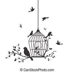 pássaros, coloridos, árvore