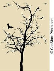 pássaros, vetorial, árvore