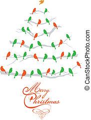 pássaros, vetorial, árvore, natal