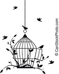 pássaros, vetorial, livre