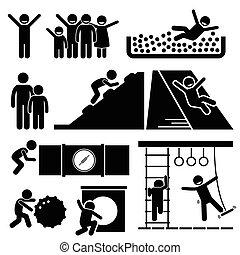 pátio recreio, ginásio, indoor, sala, selva