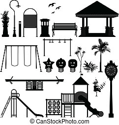 pátio recreio, parque, crianças, jardim
