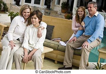 pátio, relaxante, família