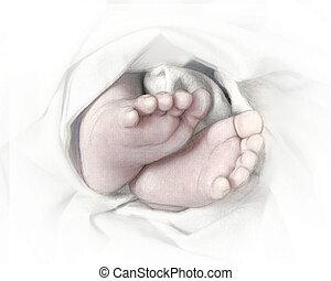 pés bebê, esboço, lápis