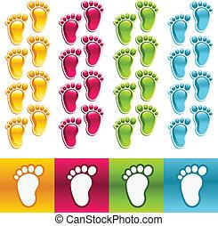 pés, coloridos