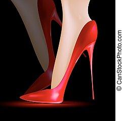 pés, sapatos, vermelho