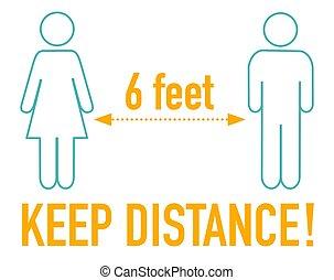 pés, sinal, 6, mantenha, ícone, distância