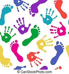 pés, tintas, impressões, mãos