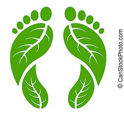 pés, verde