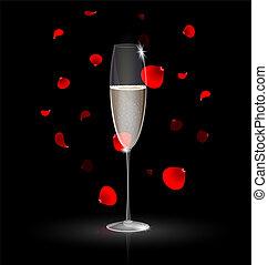 pétalas, champanhe, vermelho