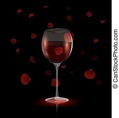 pétalas, vinho tinto