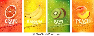 pêssego, drink.fresh, together-, fruits., etiquetas, banana, vetorial, frutas, jogo, respingue, fresco, ilustração, suco, fruta, toranja, bebida, 3d, kiwi, splashing.