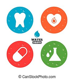 pílula, heart., médico, icons., dente, química