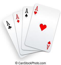 pôquer, vencedor, mão, quatro aces, cartões, tocando