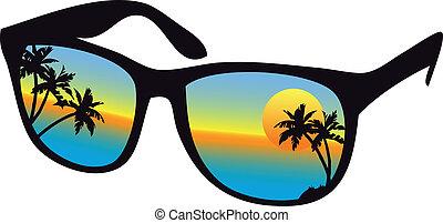 pôr do sol, óculos de sol, mar