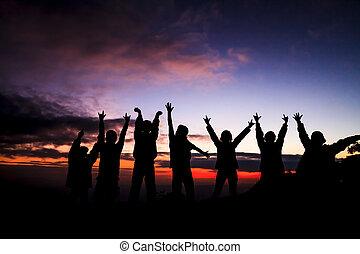 pôr do sol, amigos, ficar, grupo, silueta