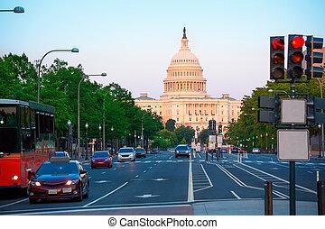 pôr do sol, capitol washington, congresso, dc