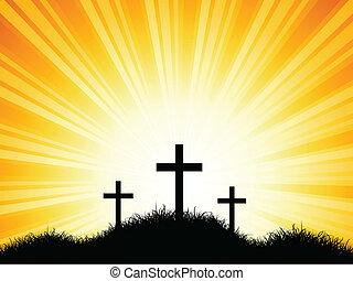 pôr do sol, cruzes, céu, contra