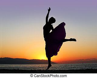 pôr do sol, dançar