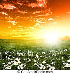 pôr do sol, paisagem, natureza