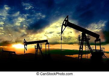 pôr do sol, trabalhando, fundo, bombas, óleo