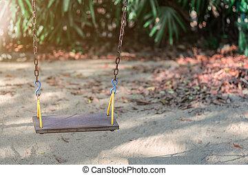 público, park., pátio recreio, crianças, balanço