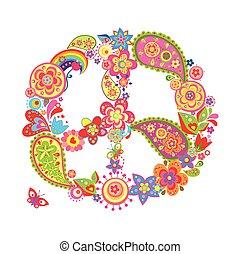 p, símbolo, flor, paz, coloridos