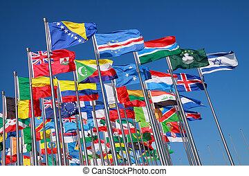 países, mundo, bandeiras, ao redor