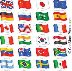 países, topo, vetorial, bandeiras, mundo, nacional