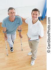 paciente, ginásio, relatórios, incapacitado, terapeuta, hospitalar