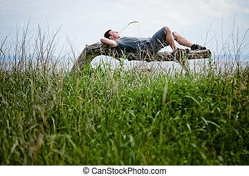 pacificamente, adulto, jovem, relaxante, natureza