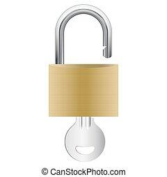 padlock, abertos, tecla, anexado