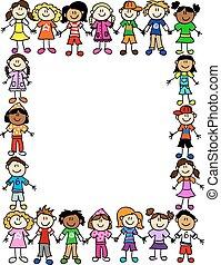 padrão, 2, amizade, seamless, crianças