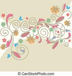 padrão, abstratos, floral