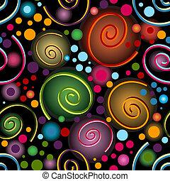 padrão, abstratos, pretas, vívido, seamless