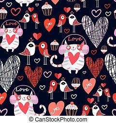 padrão, amantes, pássaros, bonito, gatos