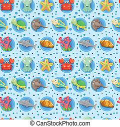 padrão, aquário, seamless, animal, caricatura