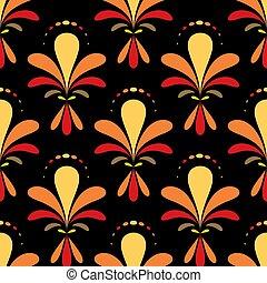 padrão, azulejo, ornamento, flor, vetorial