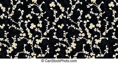 padrão, blossom., pretas, cereja