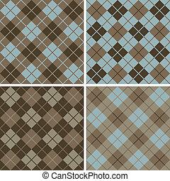 padrão, blue-brown, argyle-plaid