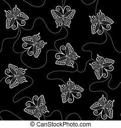 padrão, borboletas, branca, renda, seamless