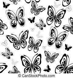 padrão, borboletas, branca, repetindo